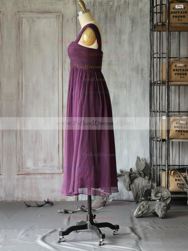 Summer Purple Chiffon Criss Cross Square Neckline Tea-length Mother of the Bride Dresses #PDS01021617