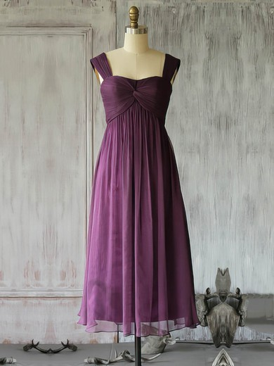 Summer Purple Chiffon Criss Cross Square Neckline Tea-length Mother of the Bride Dresses #PDS01021617