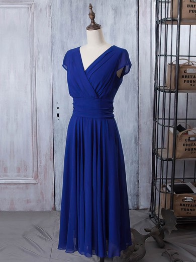 V-neck Royal Blue Chiffon Ruffles Short Sleeve A-line Mother of the Bride Dresses #PDS01021618
