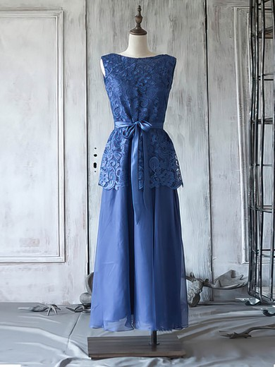 Royal Blue Chiffon Lace Scoop Neck Sashes / Ribbons Ankle-length Mother of the Bride Dress #PDS01021623