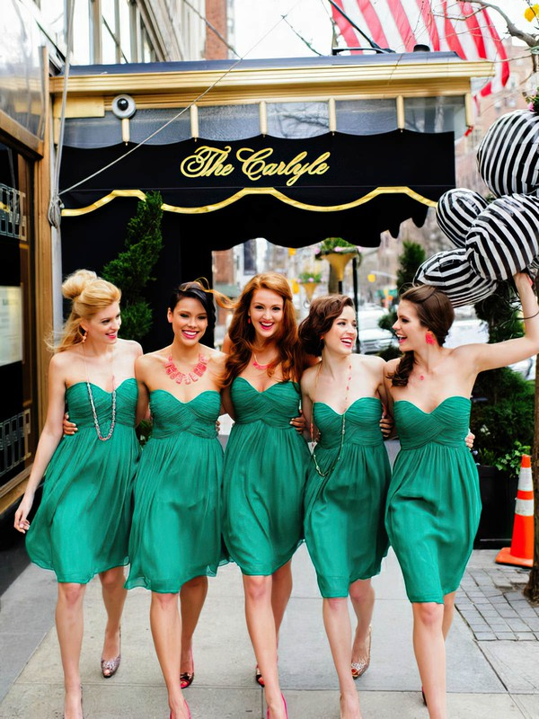 Empire Green Chiffon Ruffles and Pleats Short/Mini Bridesmaid Dresses #PDS01012463