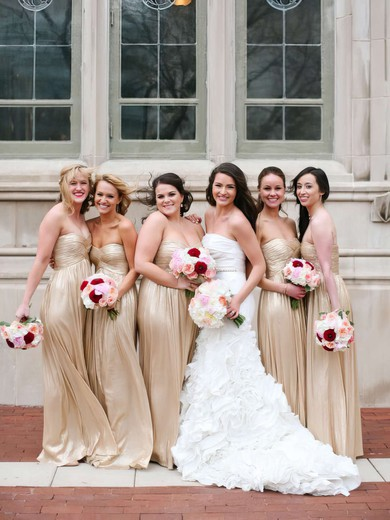 Chiffon Sweetheart Champagne Bridesmaid Dresses