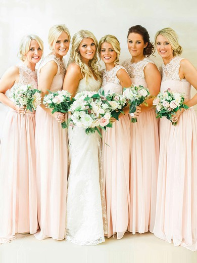 Sweep Train Pearl Pink Chiffon Lace Scoop Neck Unique Bridesmaid Dresses #PDS01012467
