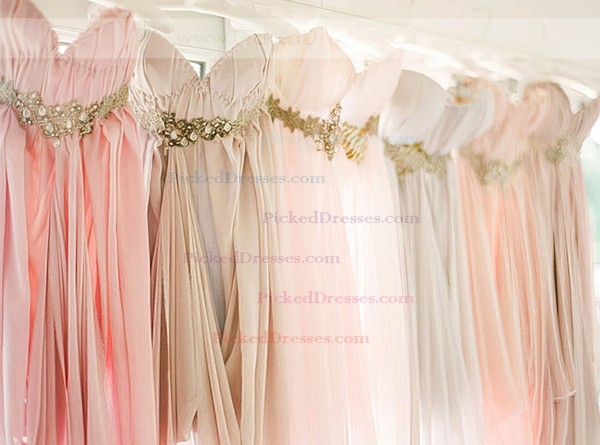 Pearl Pink Chiffon High Low Beading Empire Asymmetrical Bridesmaid Dress #PDS01012469