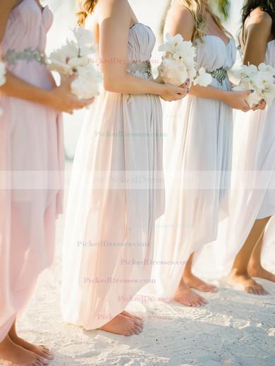 Pearl Pink Chiffon High Low Beading Empire Asymmetrical Bridesmaid Dress #PDS01012469