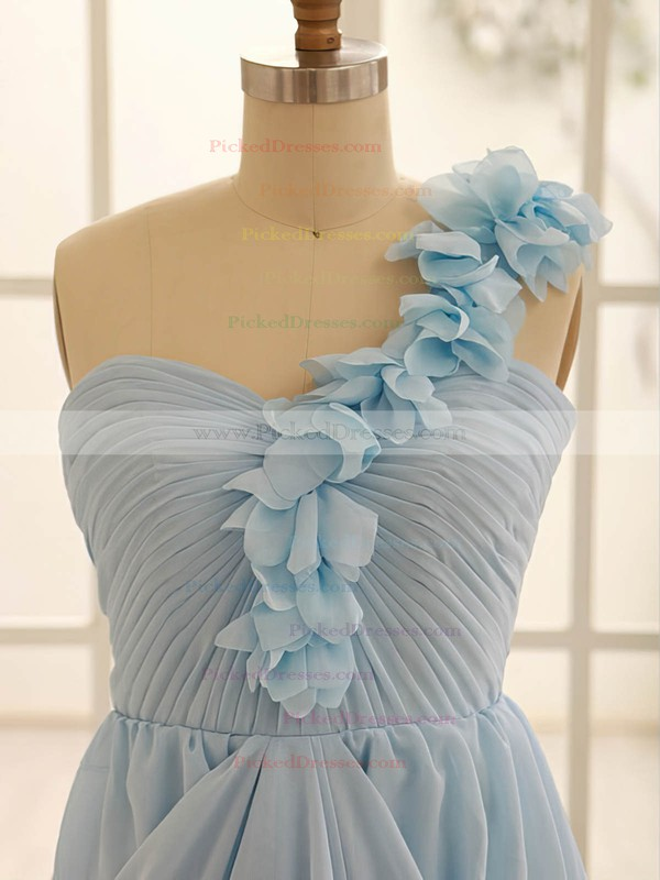 Exclusive Light Sky Blue Chiffon Flower(s) One Shoulder A-line Bridesmaid Dress #PDS01012471