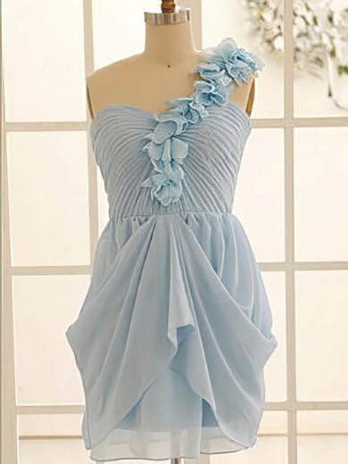 Exclusive Light Sky Blue Chiffon Flower(s) One Shoulder A-line Bridesmaid Dress #PDS01012471