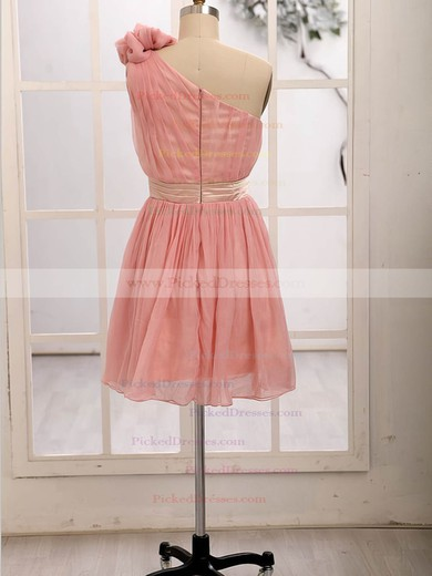 Chiffon with Flower(s) Short/Mini One Shoulder Cute Bridesmaid Dresses #PDS01012472