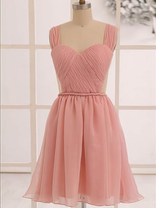 Knee-length Pearl Pink Chiffon Ruffles Open Back Sweetheart Bridesmaid Dress #PDS01012473