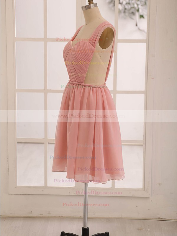 Knee-length Pearl Pink Chiffon Ruffles Open Back Sweetheart Bridesmaid Dress #PDS01012473