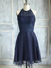A-line Scoop Neck Dark Navy Chiffon Lace Knee-length Bridesmaid Dress #PDS01012474