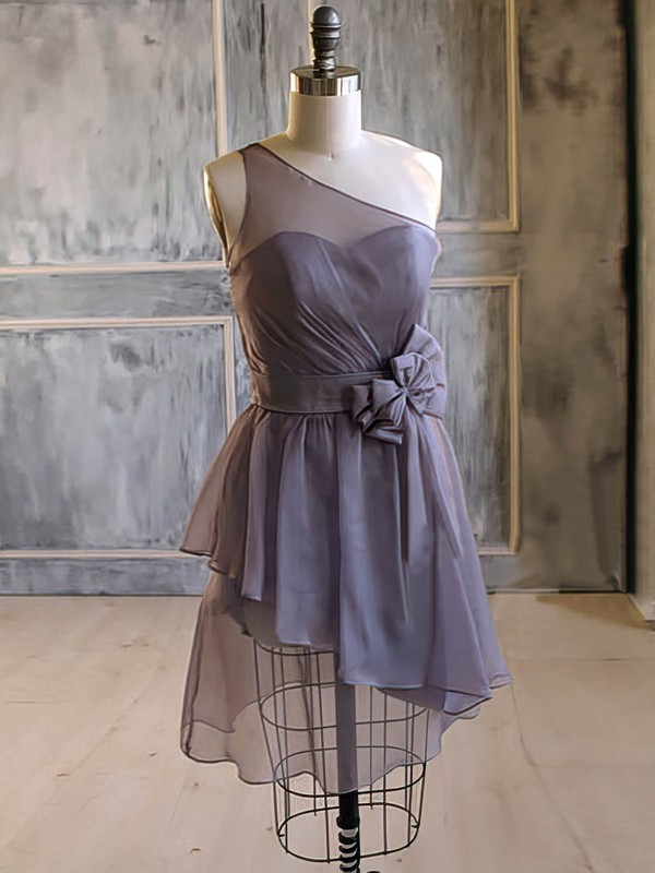 One Shoulder Short/Mini Light Slate Gray Chiffon Flower(s) A-line Bridesmaid Dress #PDS01012476