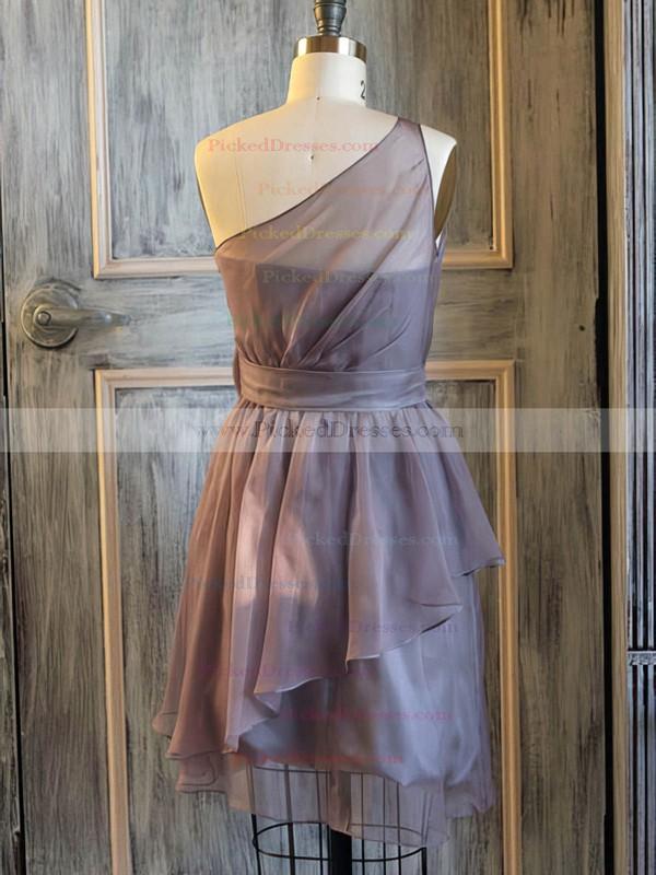 One Shoulder Short/Mini Light Slate Gray Chiffon Flower(s) A-line Bridesmaid Dress #PDS01012476