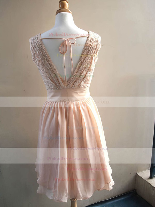 Hot Pearl Pink Chiffon Lace Knee-length V-neck Bridesmaid Dress #PDS01012478