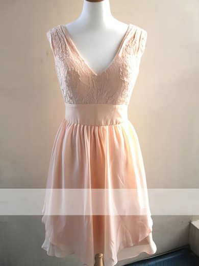 Hot Pearl Pink Chiffon Lace Knee-length V-neck Bridesmaid Dress #PDS01012478