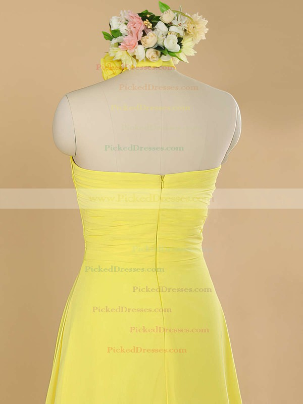 Sweep Train Yellow Chiffon with Ruffles Halter Nicest Bridesmaid Dress #PDS01012482