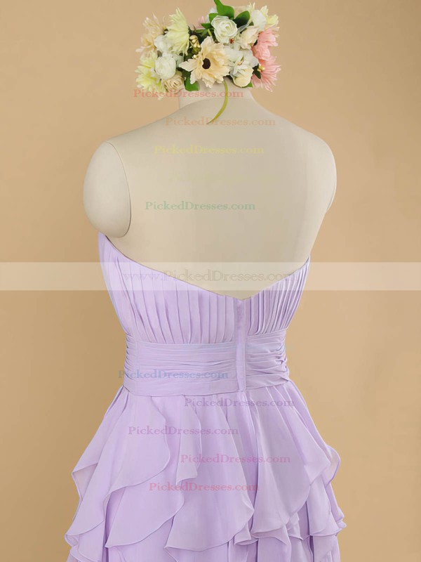Popular Sheath/Column Lilac Chiffon Tiered Strapless Bridesmaid Dresses #PDS01012483
