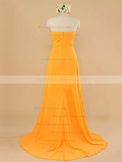 Prettiest Orange Chiffon with Ruffles Sweetheart Sheath/Column Bridesmaid Dress #PDS01012484