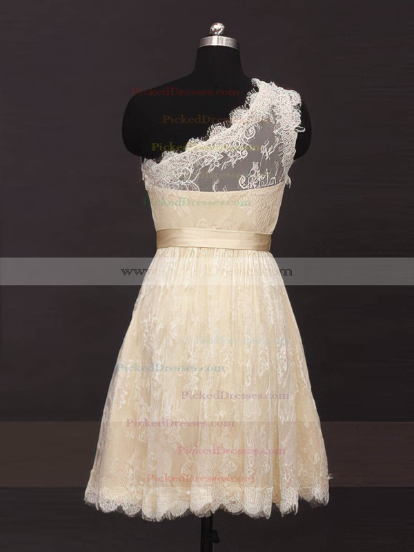 Champagne One Shoulder Lace Sashes/Ribbons Summer Short/Mini Bridesmaid Dresses #PDS01012485