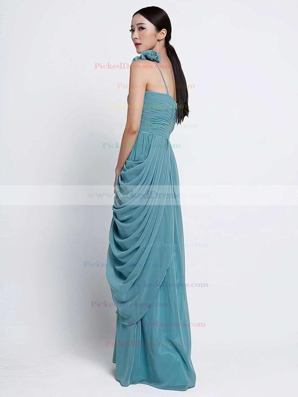 Sheath/Column Chiffon Ruffles Affordable One Shoulder Floor-length Bridesmaid Dress #PDS01012486