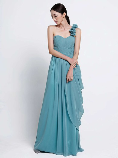 Sheath/Column Chiffon Ruffles Affordable One Shoulder Floor-length Bridesmaid Dress #PDS01012486