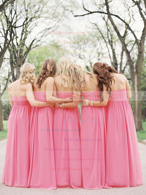 Chiffon with Flower(s) Best Pearl Pink Sweetheart Floor-length Bridesmaid Dresses #PDS01012487
