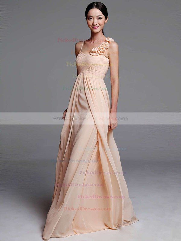 Sheath/Column Chiffon with Flower(s) Sweetheart Designer Bridesmaid Dresses #PDS01012489