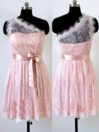 Different Short/Mini Lace with Sashes/Ribbons One Shoulder Pink Bridesmaid Dress #PDS01012490
