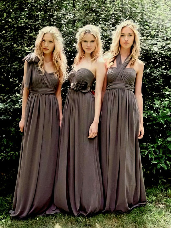 Sweetheart Empire Floor-length Gray Chiffon Ruffles Bridesmaid Dresses #PDS01012491