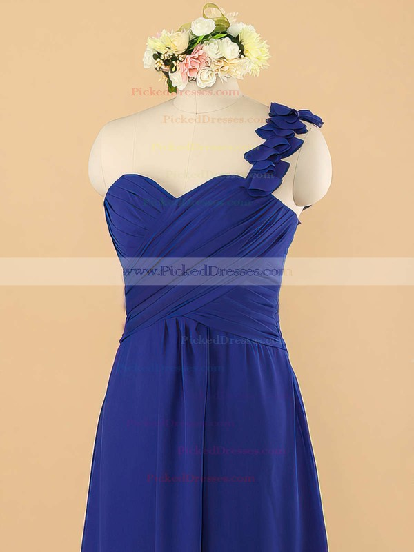 Inexpensive Royal Blue Chiffon with Ruffles A-line One Shoulder Bridesmaid Dress #PDS01012492