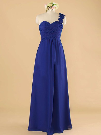 7583af9604a4 Inexpensive Royal Blue Chiffon with Ruffles A-line One Shoulder Bridesmaid  Dress #PDS01012492