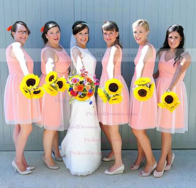 Online Light Sky Blue Satin Tulle with Ruffles Short/Mini Scoop Neck Bridesmaid Dress #PDS01012494