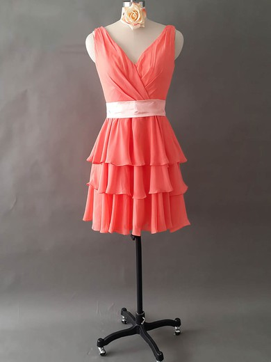 Perfect V-neck Tiered Watermelon Chiffon Short/Mini Bridesmaid Dresses #PDS01012495