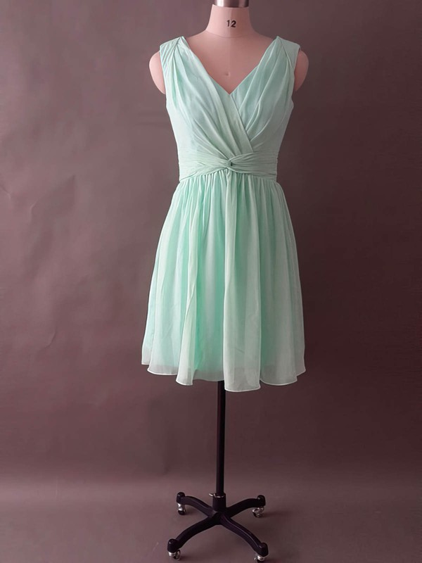Sage Chiffon with Ruffles V-neck Pretty Knee-length Bridesmaid Dress #PDS01012496
