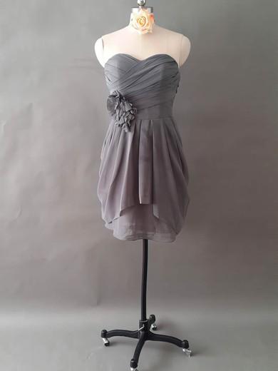 Promotion A-line Sweetheart Chiffon Ruffles Flower(s) Short/Mini Bridesmaid Dresses #PDS01012497