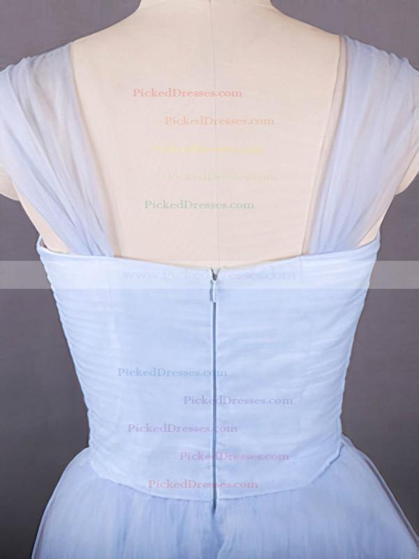Light Sky Blue Tulle Ruffles Knee-length Simple Sweetheart Bridesmaid Dresses #PDS01012498