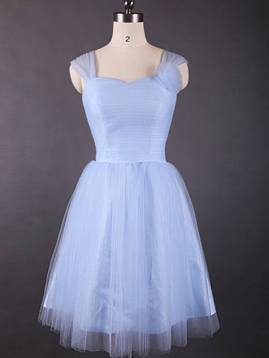 Light Sky Blue Tulle Ruffles Knee-length Simple Sweetheart Bridesmaid Dresses #PDS01012498