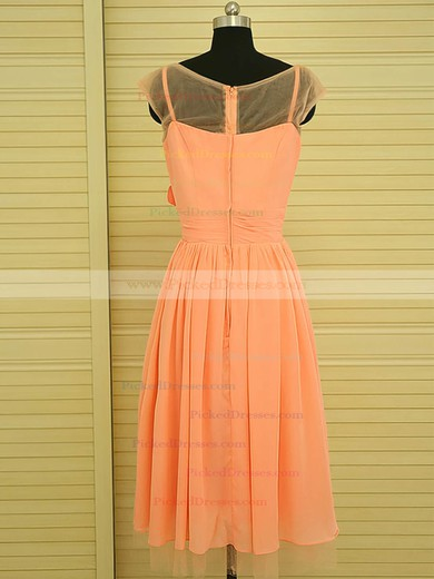 Knee-length Chiffon Flower(s) Unique Scoop Neck Orange Bridesmaid Dress #PDS01012499