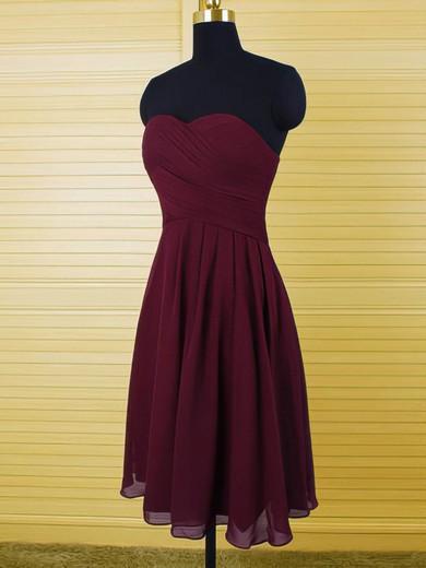 Amazing Sweetheart Grape Chiffon with Ruffles A-line Bridesmaid Dresses #PDS01012500