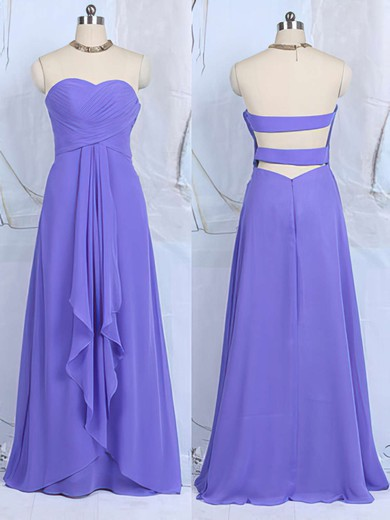 Sweetheart Ruffles Floor-length Lavender Chiffon Cheap Bridesmaid Dresses #PDS01012502