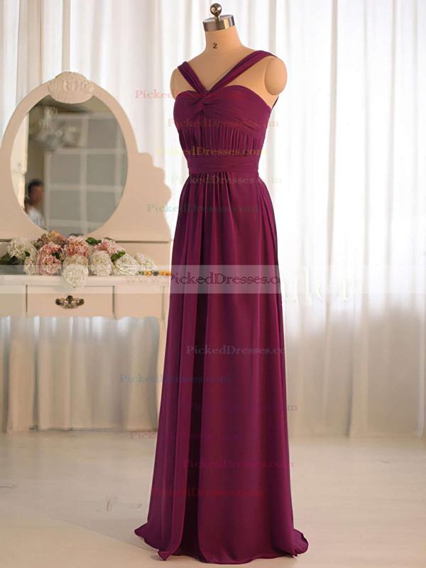 Wholesale A-line Criss Cross V-neck Grape Chiffon Bridesmaid Dress #PDS01012503