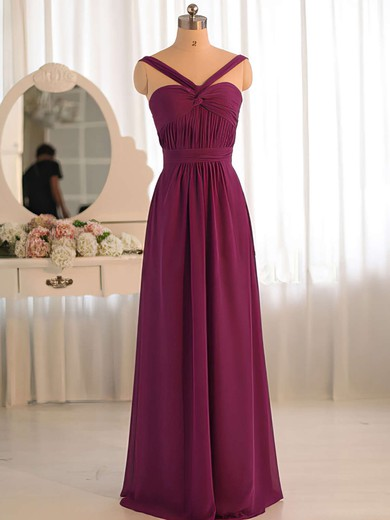 Wholesale A-line Criss Cross V-neck Grape Chiffon Bridesmaid Dress #PDS01012503