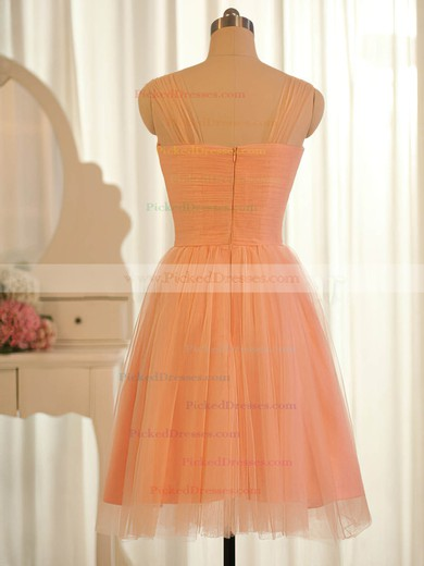 Pretty Sweetheart Orange Tulle Ruffles Straps Knee-length Bridesmaid Dresses #PDS01012504