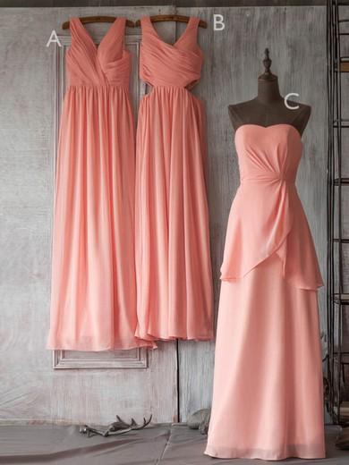 Elegant V-neck Watermelon Chiffon Ruffles Long Bridesmaid Dresses #PDS01012506