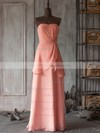 Elegant V-neck Watermelon Chiffon Ruffles Long Bridesmaid Dresses #PDS01012506
