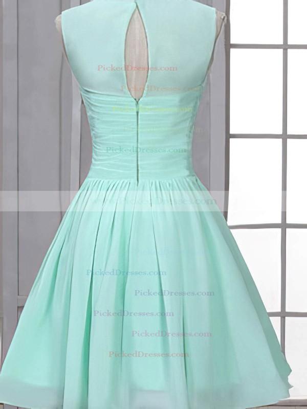 Cute Scoop Neck Chiffon Ruffles Short/Mini Bridesmaid Dress #PDS01012507