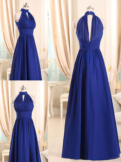 New A-line Royal Blue Chiffon Ruffles Halter Bridesmaid Dresses #PDS01012508