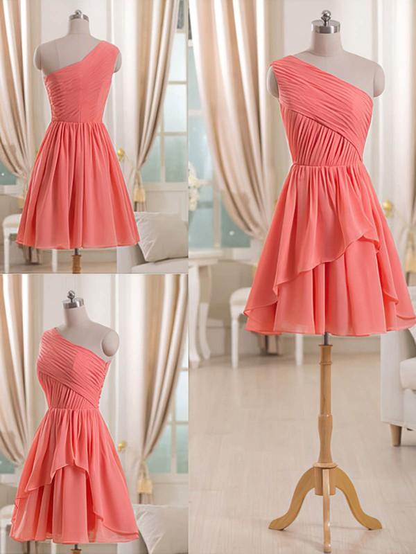 Short/Mini Watermelon Chiffon with Ruffles One Shoulder Latest Bridesmaid Dress #PDS01012509