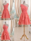Short/Mini Watermelon Chiffon with Ruffles One Shoulder Latest Bridesmaid Dress #PDS01012509