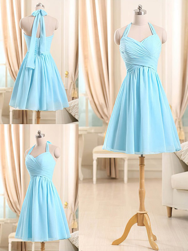 Fashion Short/Mini Light Sky Blue Chiffon Ruffles Halter Bridesmaid Dresses #PDS01012510